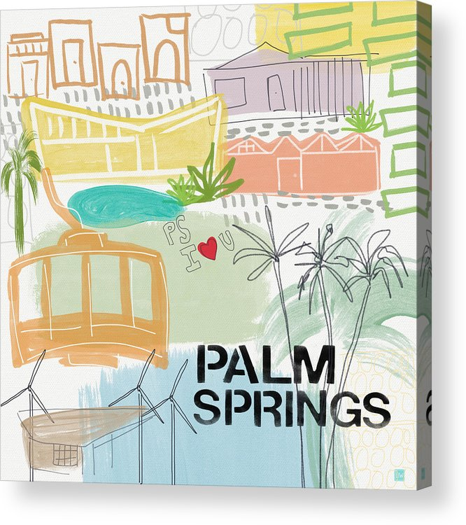 Palm Springs California Acrylic Print featuring the painting Palm Springs Cityscape- Art By Linda Woods by Linda Woods
