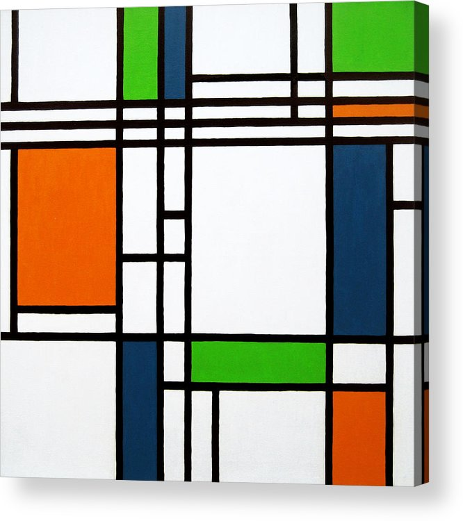 Squares Acrylic Print featuring the painting Parallel Lines Composition With Blue Green And Orange In Opposition by Oliver Johnston