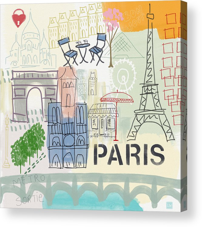Paris Acrylic Print featuring the painting Paris Cityscape- Art By Linda Woods by Linda Woods