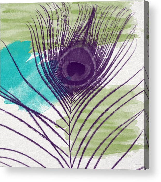 Peacock Acrylic Print featuring the painting Plumage 2-art By Linda Woods by Linda Woods