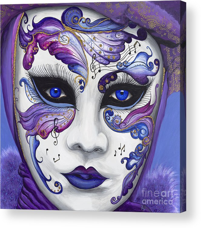 Carnival Acrylic Print featuring the painting Purple Carnival Mask by Patty Vicknair