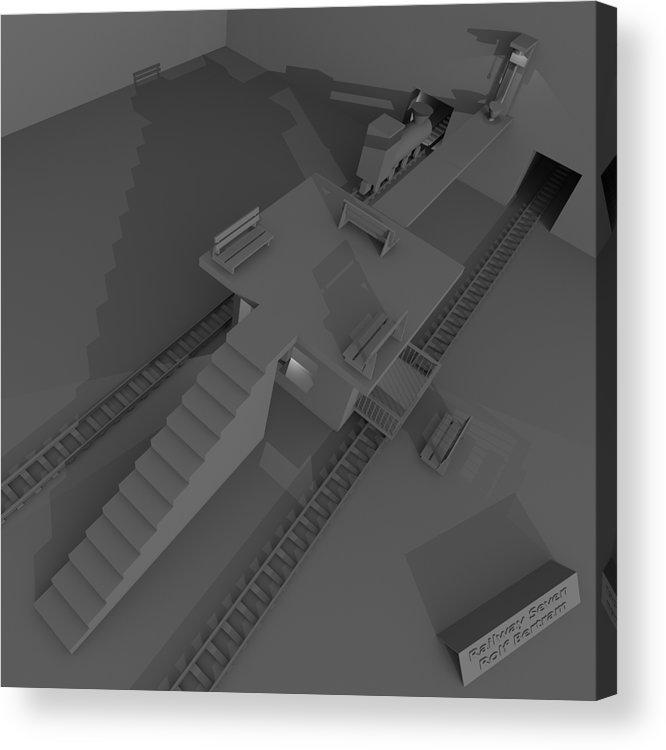 Toilet Humor Acrylic Print featuring the digital art Railway Seven by Rolf Bertram