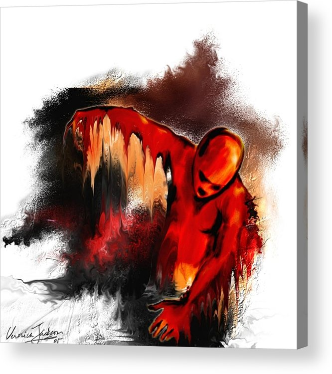 Red Man Passion Sureall Fire Acrylic Print featuring the digital art Red Man by Veronica Jackson