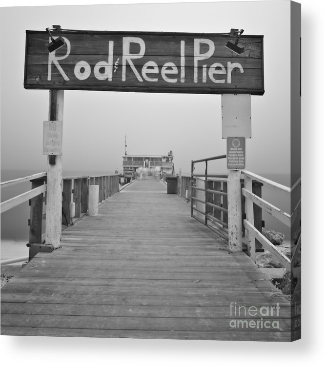 Rod And Reel Pier Acrylic Print featuring the photograph Rod And Reel Pier In Fog In Infrared 53 by Rolf Bertram