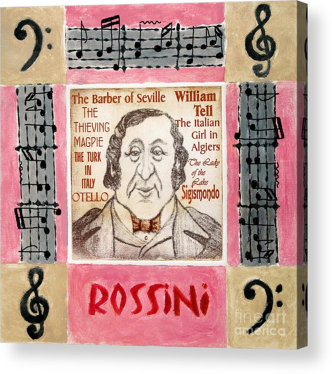 Rossini Acrylic Print featuring the mixed media Rossini Portrait by Paul Helm