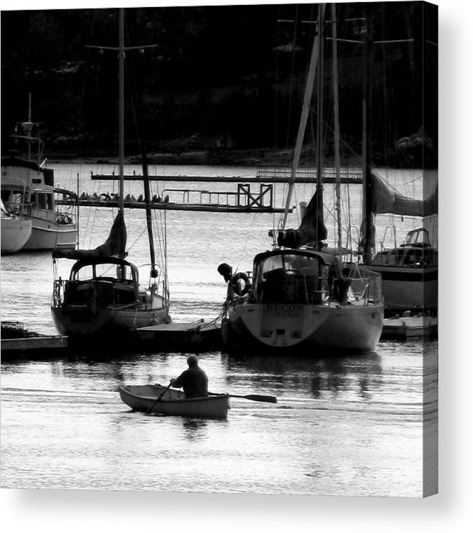 Docks Acrylic Print featuring the digital art Rowing To Shore by Donna Thomas
