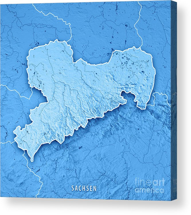 Topographic Map Germany.Sachsen Bundesland Germany 3d Render Topographic Map Blue Border