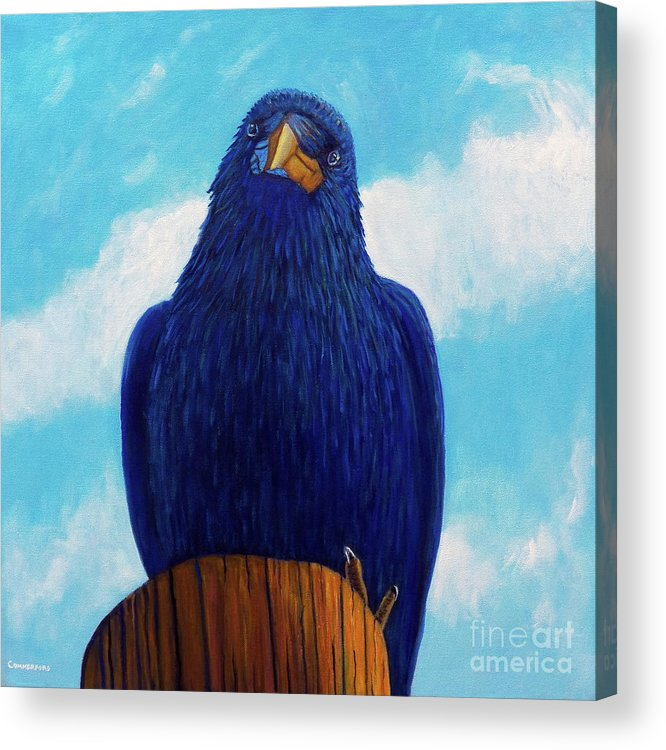 Raven Acrylic Print featuring the painting Santa Fe Smile by Brian Commerford