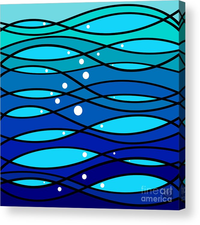 They Move Themselves In And Out With Spotlight Swiftness Acrylic Print featuring the digital art schOOlfish II by The Mariabelones