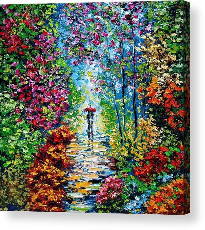 Oil Paining Acrylic Print featuring the painting Secret Garden Oil Painting - B. Sasik by Beata Sasik