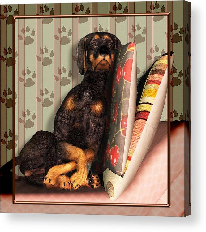 Dog Acrylic Print featuring the digital art Sleeping I by Nik Helbig
