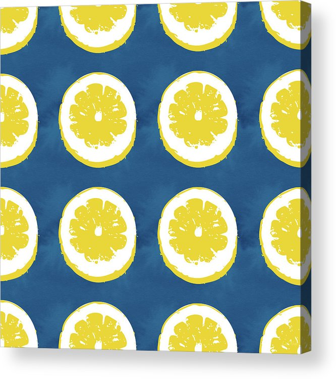 Lemons Acrylic Print featuring the mixed media Sliced Lemons On Blue- Art By Linda Woods by Linda Woods