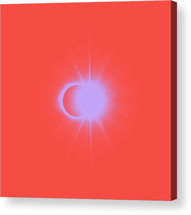 Sun Acrylic Print featuring the painting Solar Eclipse, Diamond Ring 2a by Celestial Images