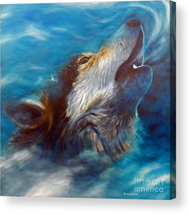 Wolf Acrylic Print featuring the painting Spirit Of The Wolf by Brian Commerford