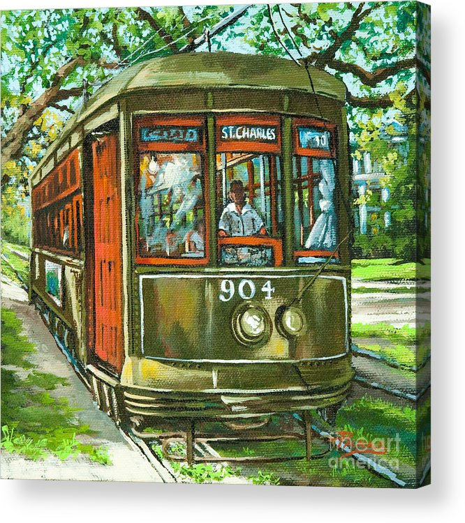 New Orleans Streetcar Acrylic Print featuring the painting St. Charles No. 904 by Dianne Parks