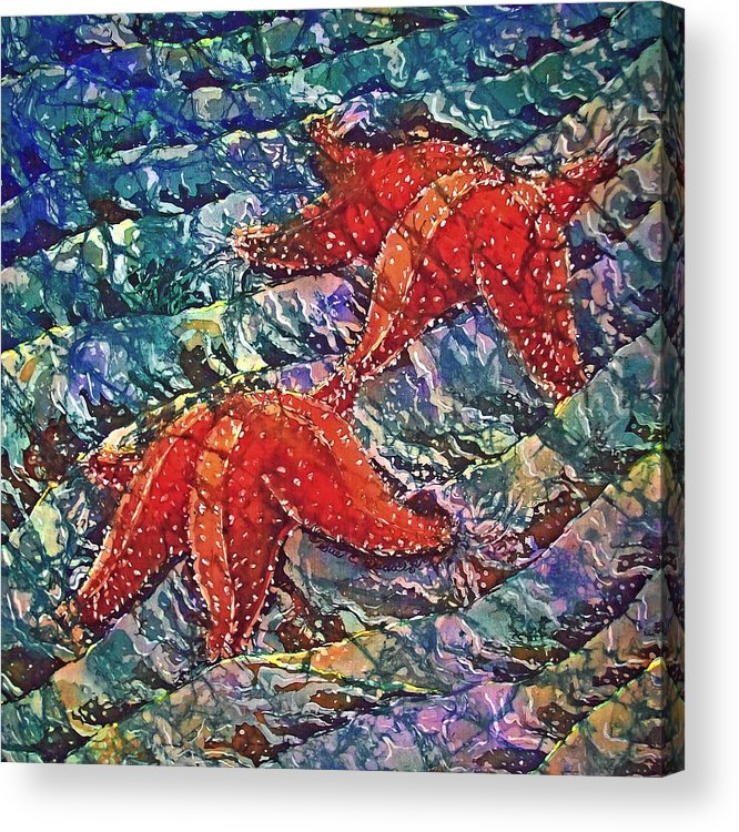 Stars Acrylic Print featuring the painting Starfish 2 by Sue Duda