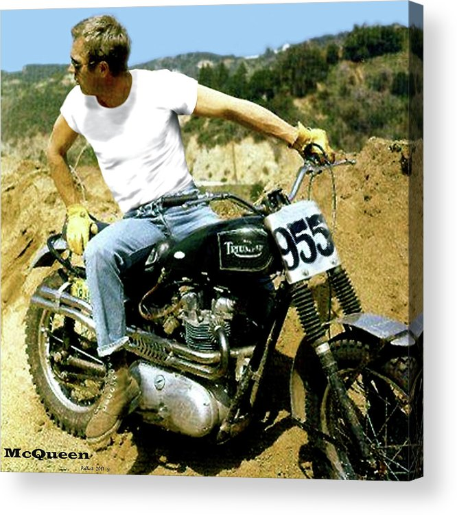 Steve Mcqueen Acrylic Print featuring the mixed media Steve Mcqueen, Triumph Motorcycle, On Any Sunday by Thomas Pollart