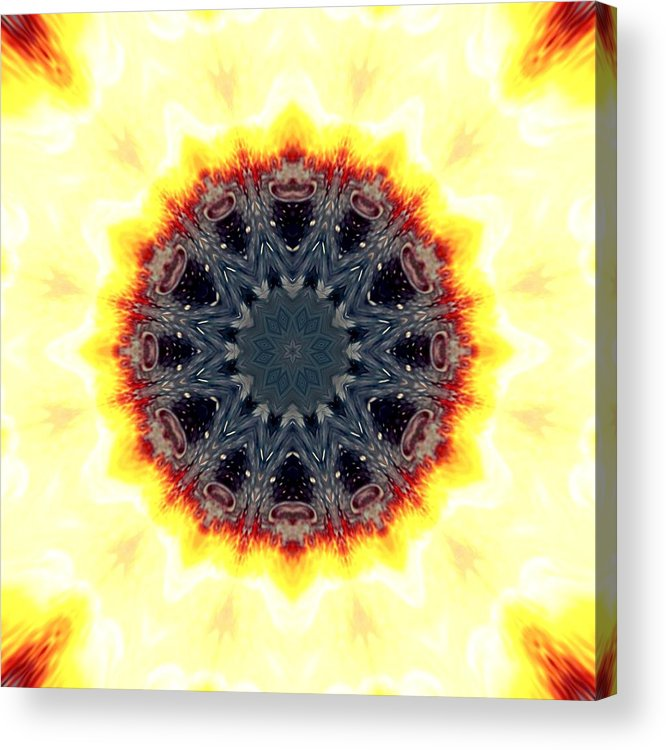 Lava Acrylic Print featuring the mixed media Sun Flower by Cosmic Child