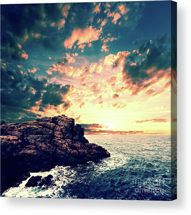 Sunset Acrylic Print featuring the digital art Sunset On The Horizon by Phil Perkins