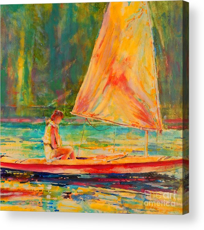 Sunfish Acrylic Print featuring the painting Sunset Sailor 2 by Kip Decker
