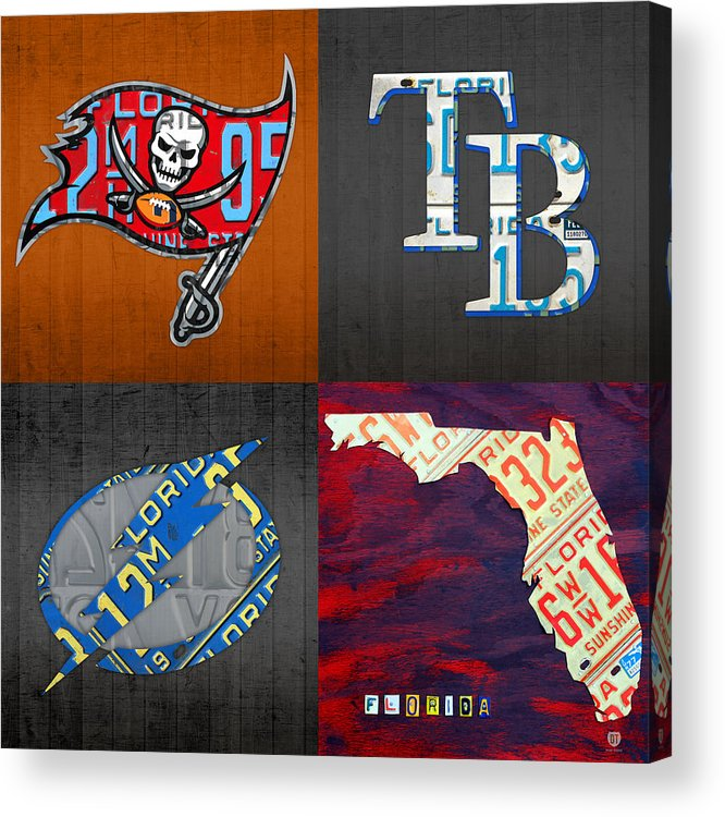 License Plate State Map.Tampa Bay Sports Fan Recycled Vintage Florida License Plate Art Bucs