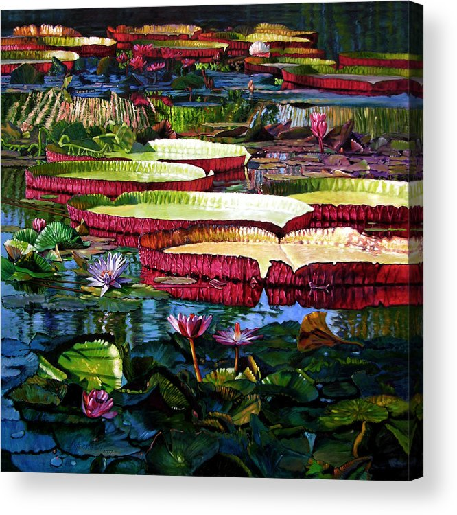 Landscape Acrylic Print featuring the painting Tapestry Of Color And Light by John Lautermilch