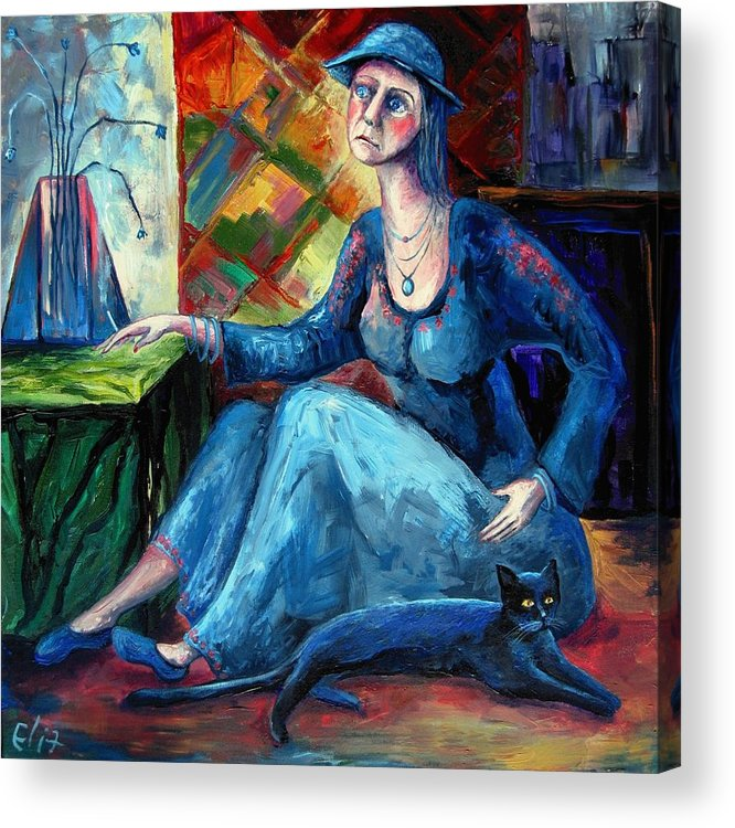 Reality Acrylic Print featuring the painting The Jeans Girl. 20 Years Later by Elisheva Nesis