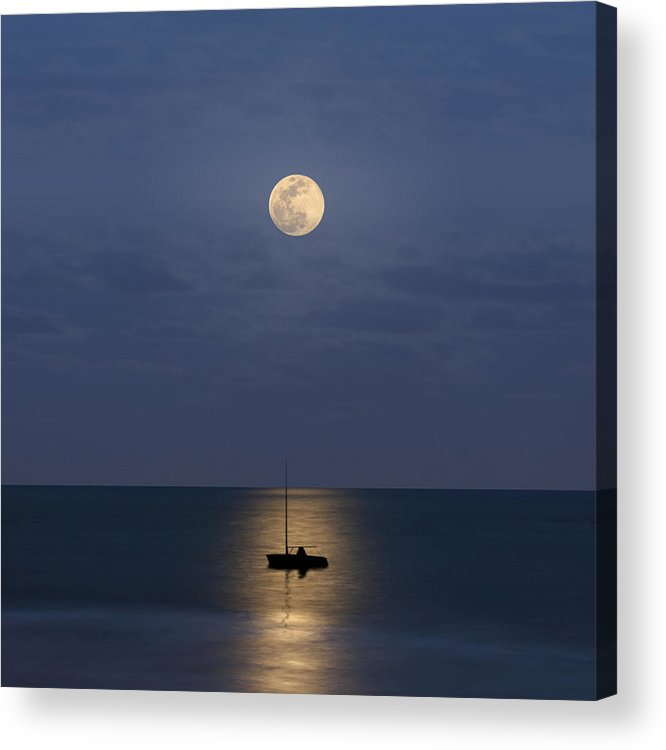Square Acrylic Print featuring the photograph The Moon Guide Us by Carlos Gotay