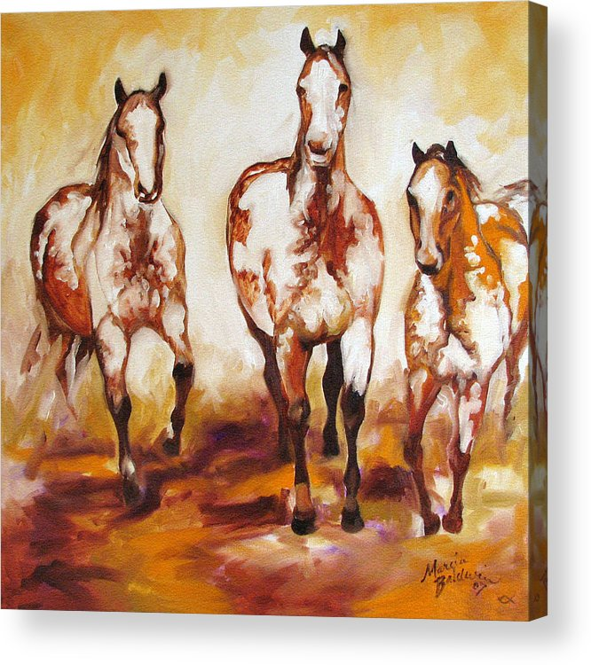 Horse Acrylic Print featuring the painting Three Pinto Indian Ponies by Marcia Baldwin