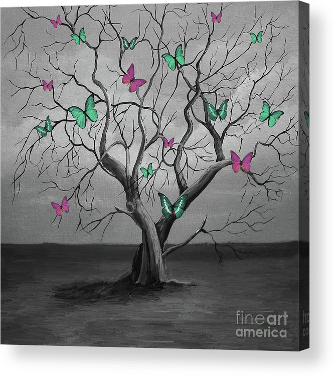 Painting Acrylic Print featuring the painting Tree Of Butterflies by Gull G