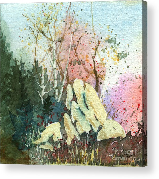 Landscape Acrylic Print featuring the painting Triptych Panel 1 by Lynn Quinn