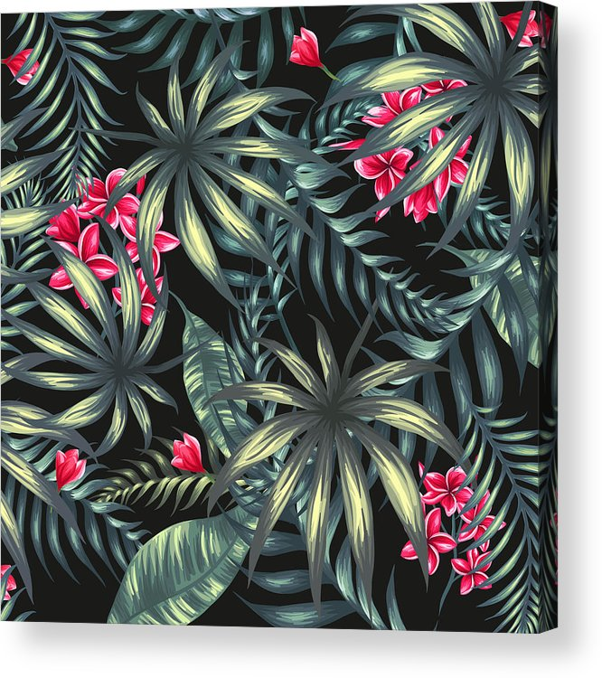 Tropical Acrylic Print featuring the painting Tropical Leaf Pattern by Stanley Wong