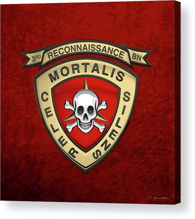 'military Insignia & Heraldry' Collection By Serge Averbukh Acrylic Print featuring the digital art U S M C 3rd Reconnaissance Battalion - 3rd Recon Bn Insignia Over Red Velvet by Serge Averbukh