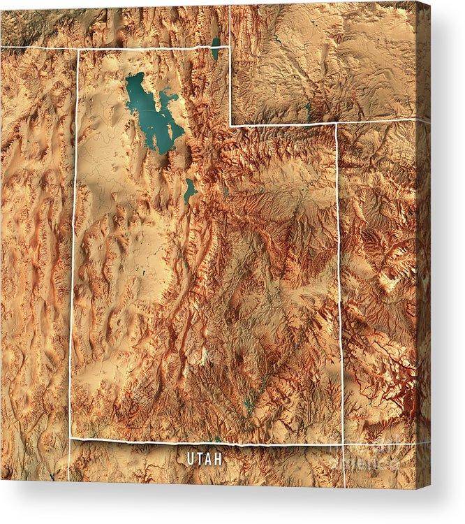 Utah State Usa 3d Render Topographic Map Border Acrylic Print