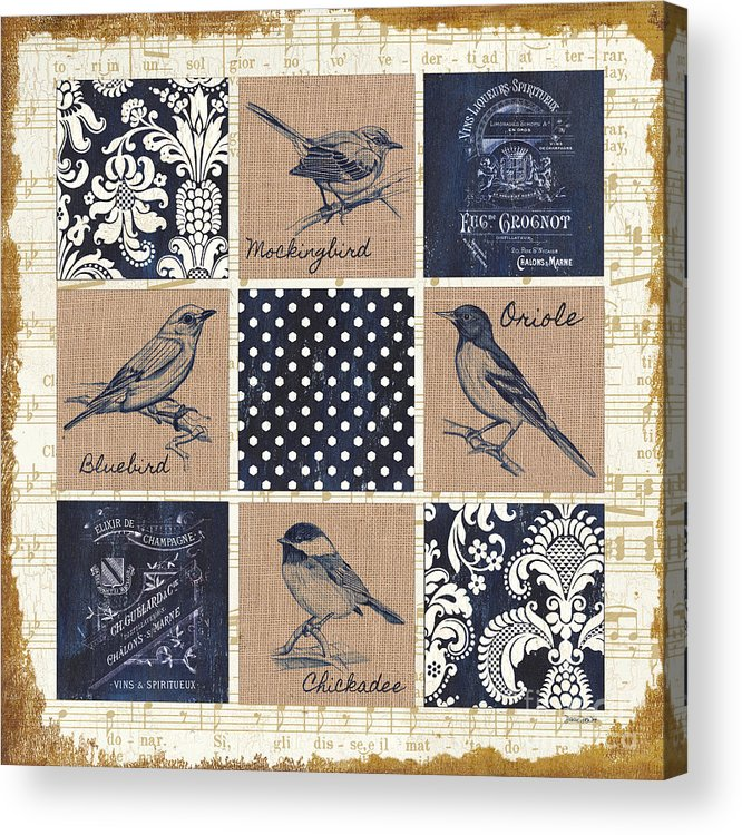 Birds Acrylic Print featuring the painting Vintage Songbird Patch 2 by Debbie DeWitt