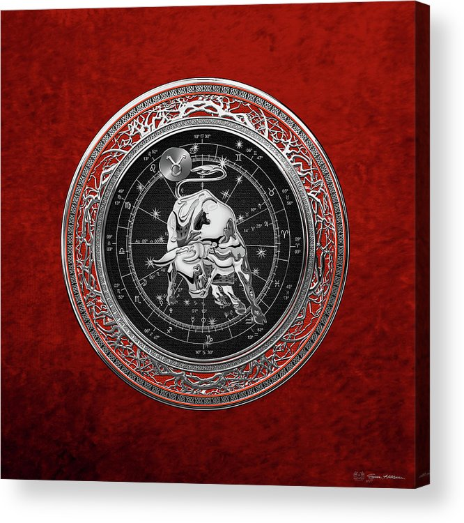 'zodiac' Collection By Serge Averbukh Acrylic Print featuring the digital art Western Zodiac - Silver Taurus - The Bull On Red Velvet by Serge Averbukh