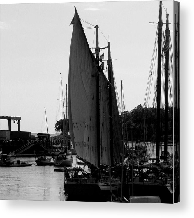 Boats Acrylic Print featuring the digital art White Sail by Donna Thomas