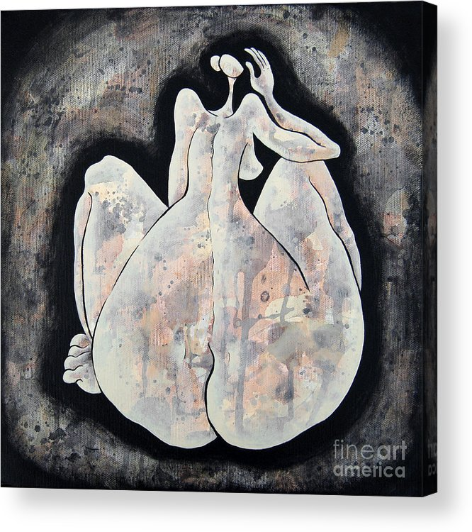 Body Acrylic Print featuring the painting Woman 13 From When De Body Talks Collection by Son Of the Moon