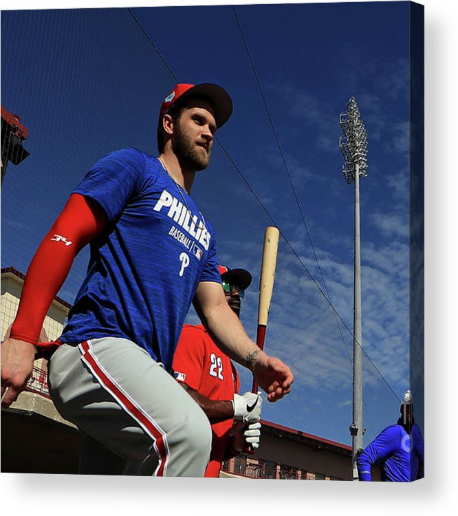 Working Acrylic Print featuring the photograph Philadelphia Phillies Bryce Harper 1 by Mike Ehrmann