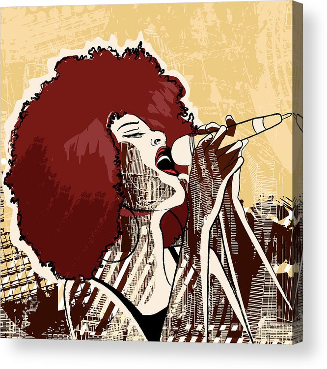 Voice Acrylic Print featuring the digital art Vector Illustration Of An Afro American by Isaxar