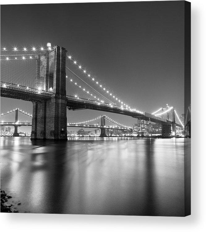 Scenics Acrylic Print featuring the photograph Brooklyn Bridge At Night by Adam Garelick