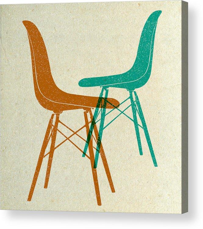 Mid-century Acrylic Print featuring the digital art Eames Plastic Side Chairs II by Naxart Studio