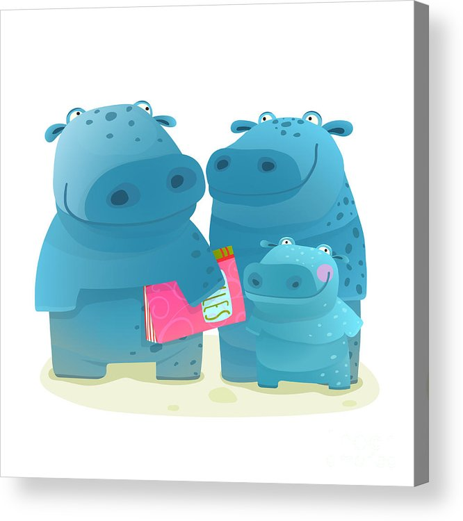 Pink Acrylic Print featuring the digital art Hippo Family Mother Father And Kid With by Popmarleo