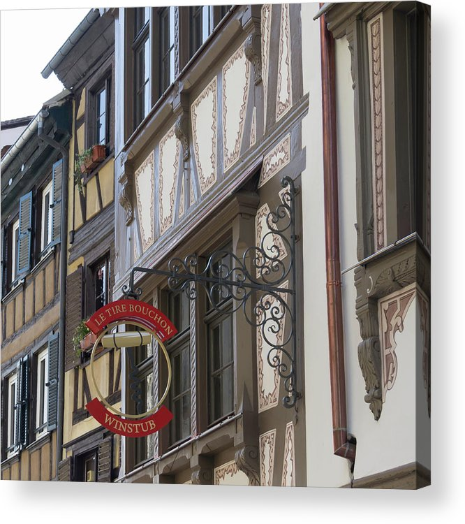 Alsace Acrylic Print featuring the photograph Le Tire Bouchon Winstub Sign by Teresa Mucha
