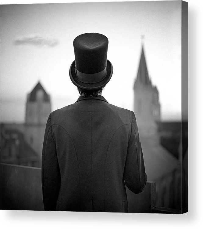 People Acrylic Print featuring the photograph Man Standing Front Of Cathedral by Eddie O'bryan