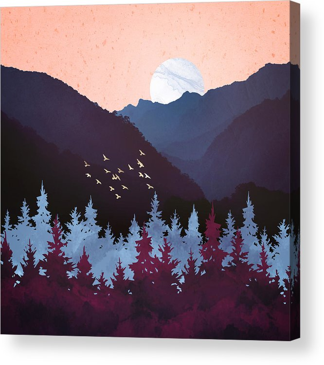 Digital Acrylic Print featuring the digital art Mulberry Dusk by Spacefrog Designs