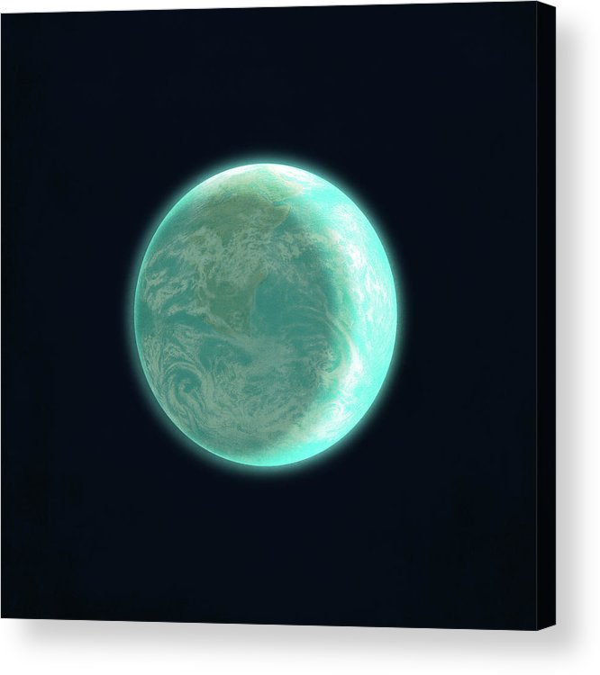 Space Acrylic Print featuring the drawing Pale Blue Dot by Eric Fan