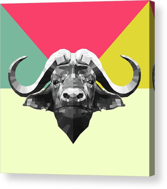 Buffalo Acrylic Print featuring the digital art Party Buffalo by Naxart Studio