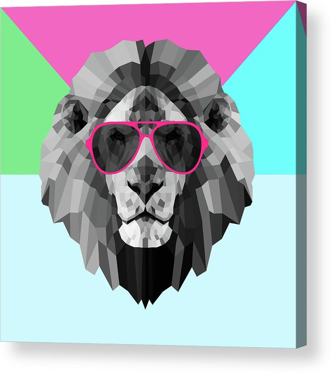 Lion Acrylic Print featuring the digital art Party Lion In Red Glasses by Naxart Studio