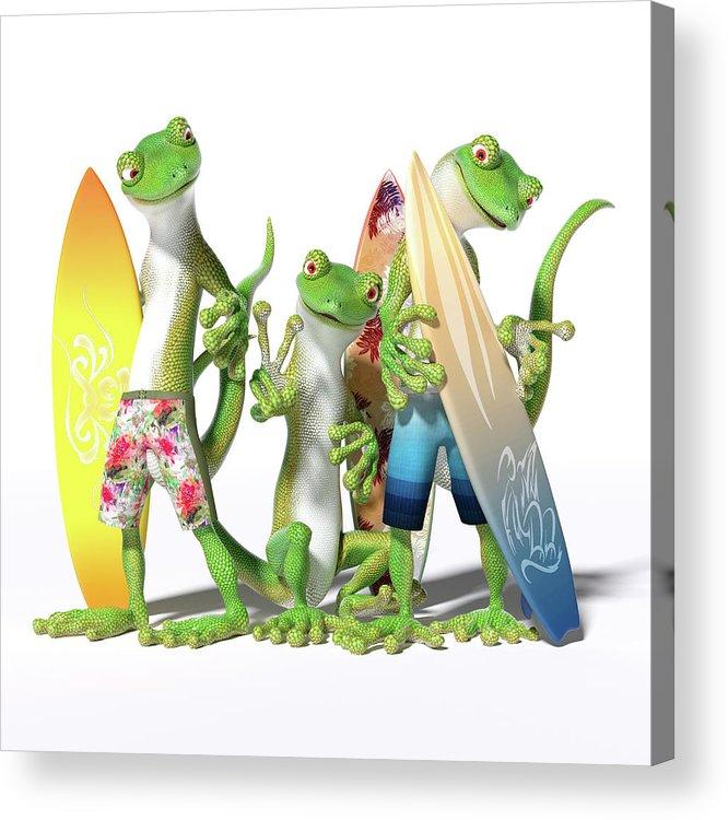 Gecko Acrylic Print featuring the digital art Peace Geckos by Betsy Knapp
